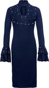 Sukienka bonprix BODYFLIRT boutique w stylu glamour z dekoltem typu choker