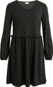 Czarna sukienka Vila z dekoltem w kształcie litery v z długim rękawem w stylu casual