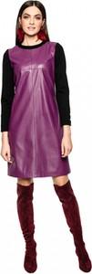 Sukienka L'AF ze skóry mini z długim rękawem