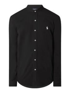 Czarna koszula POLO RALPH LAUREN ze stójką z długim rękawem z bawełny