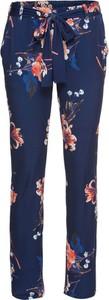 Granatowe spodnie bonprix BODYFLIRT z dżerseju w stylu casual