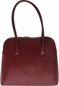 Czerwona torebka Vera Pelle ze skóry na ramię