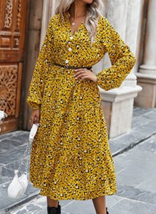 Żółta sukienka Cikelly z długim rękawem w stylu boho midi