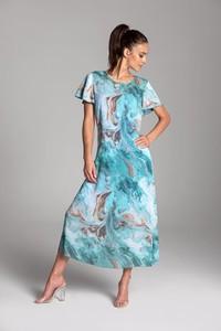 Sukienka Tarionus S.c. trapezowa z krótkim rękawem maxi