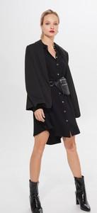 Czarna sukienka Mohito szmizjerka z długim rękawem mini