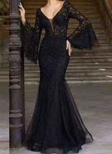 Czarna sukienka Cikelly dopasowana z tiulu maxi