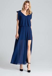 Niebieska sukienka Figl z dekoltem w kształcie litery v maxi