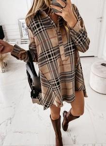 Brązowa sukienka Cikelly koszulowa