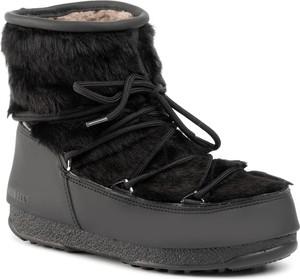 Czarne śniegowce Moon Boot z płaską podeszwą sznurowane