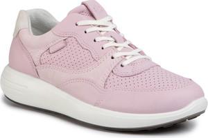 Różowe buty sportowe Ecco ze skóry sznurowane