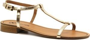 Złote sandały Neścior z klamrami