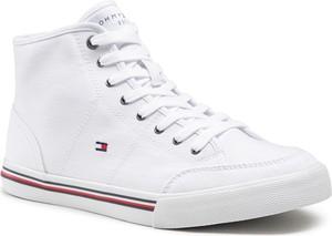 Sneakersy TOMMY HILFIGER - Core Corporate Mid Textile Snkr FM0FM03392 White YBR
