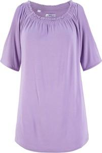 Fioletowy t-shirt bonprix bpc bonprix collection z okrągłym dekoltem w stylu casual