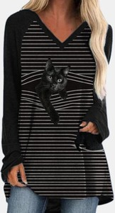 Czarna bluzka Cikelly z dekoltem w kształcie litery v w stylu casual z długim rękawem