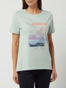 Miętowy t-shirt Esprit z krótkim rękawem z okrągłym dekoltem