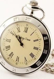 Drobiny Czasu SREBRNY KLASYK zegarek kieszonkowy na łańcuszku, dewizka