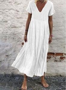Sukienka Cikelly midi z dekoltem w kształcie litery v z krótkim rękawem