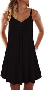 Czarna sukienka Cikelly mini z dekoltem w kształcie litery v