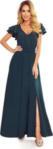 Sukienka Ptakmoda.com z dekoltem w kształcie litery v maxi z krótkim rękawem