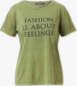 Zielony t-shirt YESSICA z dżerseju z krótkim rękawem