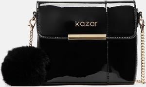 Czarna torebka Kazar w stylu glamour ze skóry na ramię