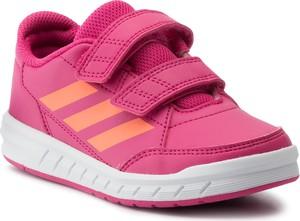 Różowe buty sportowe dziecięce Adidas na rzepy