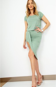Sukienka ZOiO.pl z krótkim rękawem z bawełny z okrągłym dekoltem