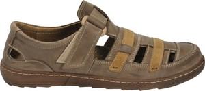 Brązowe sandały Darbut w stylu casual z płaską podeszwą z nubuku