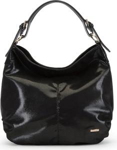 Czarna torebka Wittchen ze skóry ekologicznej duża w stylu casual