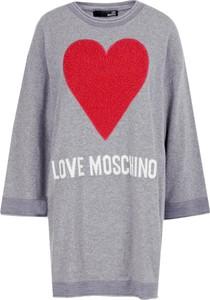 Sukienka Love Moschino z okrągłym dekoltem z wełny z długim rękawem