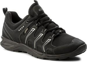 Czarne buty trekkingowe ecco ze skóry ekologicznej bez wzorów