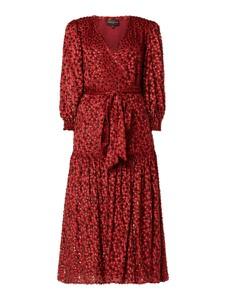 Czerwona sukienka Valerie Khalfon z dekoltem w kształcie litery v z długim rękawem midi