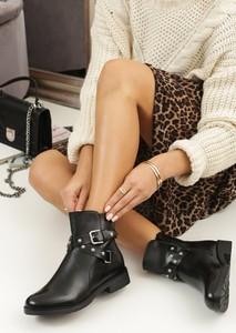Czarne botki Renee na zamek w stylu casual z płaską podeszwą