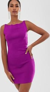 Fioletowa sukienka Asos Design z odkrytymi ramionami mini bez rękawów