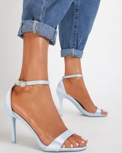 Niebieskie sandały renee z klamrami ze skóry ekologicznej w stylu klasycznym