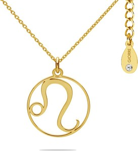 Hebe Naszyjnik znak zodiaku LEW z kryształem Swarovskiego srebro 925 : Kolor pokrycia srebra - Pokrycie Żółtym 24K Złotem