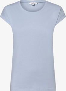 Niebieski t-shirt Marie Lund z krótkim rękawem z okrągłym dekoltem w stylu casual
