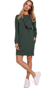 Sukienka MOE z okrągłym dekoltem w stylu casual mini
