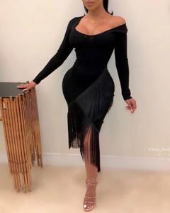 Sukienka Kendallme z okrągłym dekoltem z długim rękawem w stylu boho