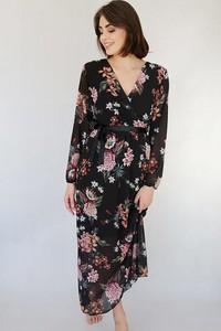 Sukienka Endoftheday w stylu boho z długim rękawem z dekoltem w kształcie litery v