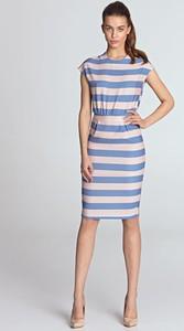 Niebieska sukienka Nife ołówkowa mini z okrągłym dekoltem