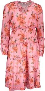 Różowa sukienka Replay z długim rękawem mini