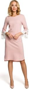 Różowa sukienka MOE z okrągłym dekoltem z bawełny z długim rękawem