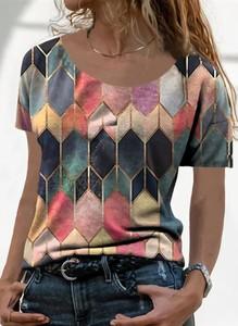 T-shirt Sandbella z bawełny z krótkim rękawem z okrągłym dekoltem