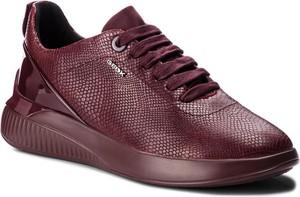 Czerwone buty sportowe Geox ze skóry ekologicznej z płaską podeszwą w sportowym stylu