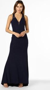 Granatowa sukienka Mascara bez rękawów maxi dopasowana