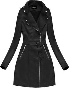 Czarny płaszcz Libland z zamszu