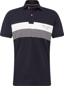 fbc36145562ee Granatowa koszulka polo Tommy Hilfiger w stylu casual z dżerseju z krótkim  rękawem