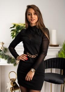 Czarna sukienka Fason mini z okrągłym dekoltem dopasowana
