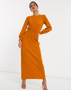 Pomarańczowa sukienka Asos maxi z długim rękawem
